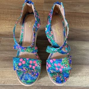 Anthro Miss Albright Floral Wedges 5.5